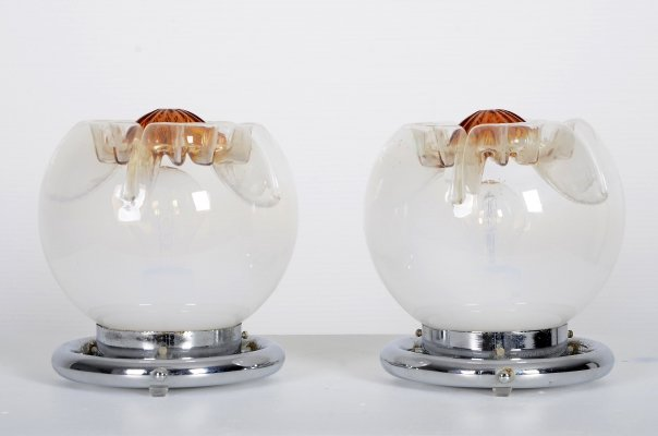 Set of Mazzega bed lamps or table lamps with murano glass