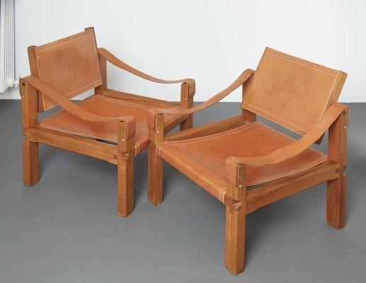 Pair of S10 or Sahara lounge chairs by Pierre Chapo