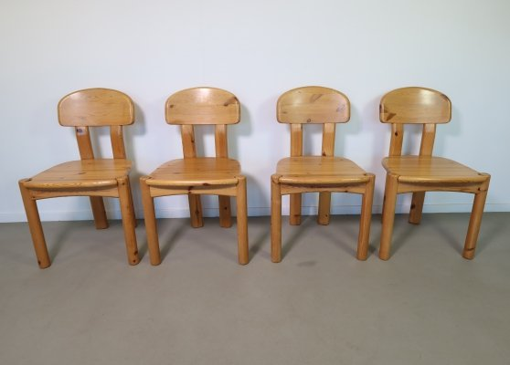 Set of 4 Solid pine wood dining chairs, 1970s