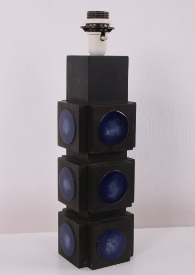 Black wood with blue enamel plates Table lamp by Lars-Goran Nilsson, Sweden 1960s