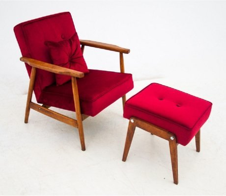 Red Armchair with footrest, Poland 1960s