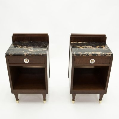 Pair of French art deco rosewood, brass & marble nightstands, 1940s