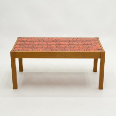 French oak wood & red ceramic coffee table, 1960s