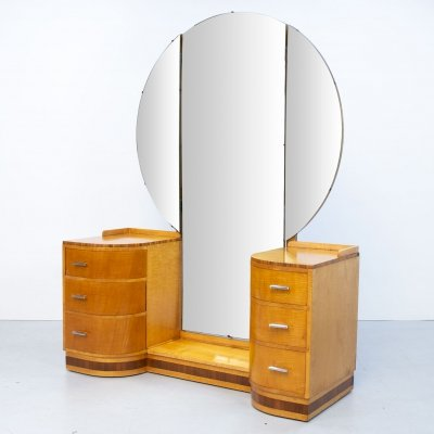 Art Deco Sycamore Dressing Table, 1920s