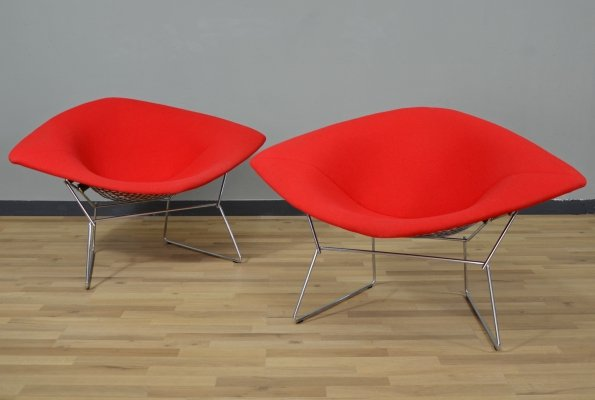 Pair of Large Model 420 Diamond Chairs by Harry Bertoia for Knoll, 1980s