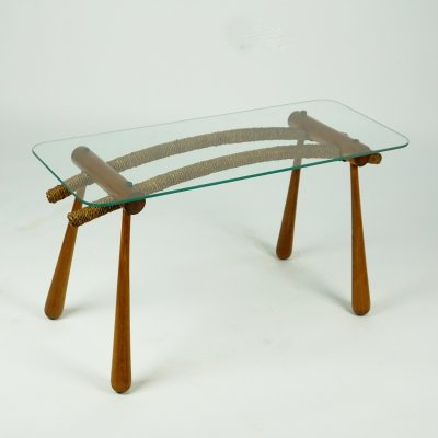 Austrian Midcentury Beechwood Side Table with Cord & Glass Top by Max Kment