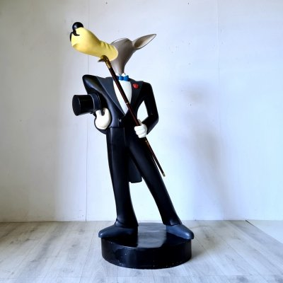 Hand Painted fiberglass inforced polyester life size McWolf statue by Tex Avery, 1990s