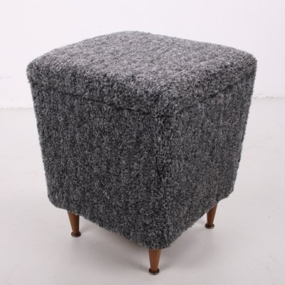 Vintage side stool with storage space & wooden legs, 1960s