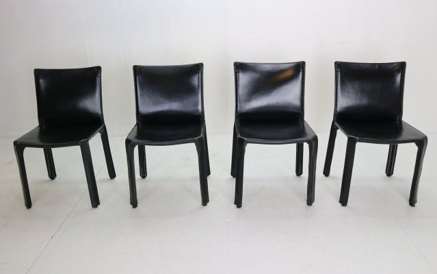 4 black leather Mario Bellini 'Cab-412' chairs for Cassina, 1970