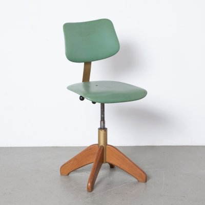 Stoll Giroflex work stool in green, 1960s