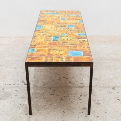 Large Rectangular Tile Coffee Table by Vallauris, France 1960s
