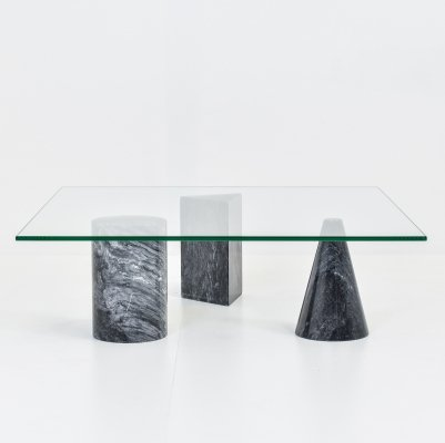 Glass & Marble Coffee Table, 1970s