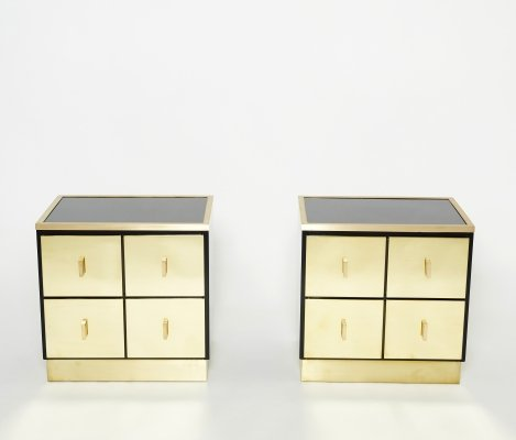 Pair of Italian Luciano Frigerio black lacquered & brass nightstand tables, 1970s