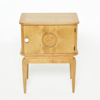 French Art Deco carved ash wood nightstand, 1940s