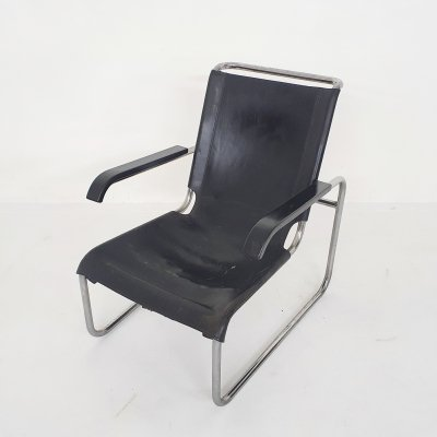 Marcel Breuer for Thonet model S 35 black leather tubular lounge chair, Germany