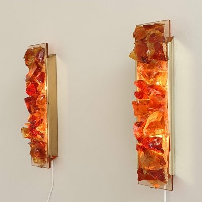 Pair of Cosack Amber-Rosé glass wall lights, 1960s