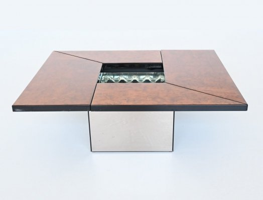 Paul Michel cocktail bar coffee table in burl wood, France 1970