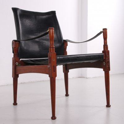 Black rosewood Safari chair by Khyber Wood, 1970s
