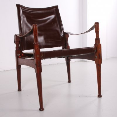 Brown rosewood Safari chair by Khyber Wood, 1970s