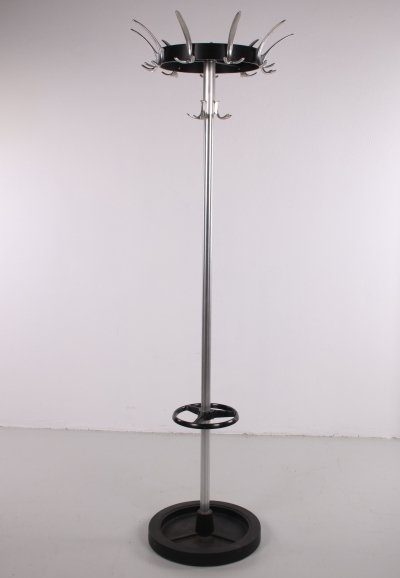 Vintage chrome standing coat rack with umbrella stand