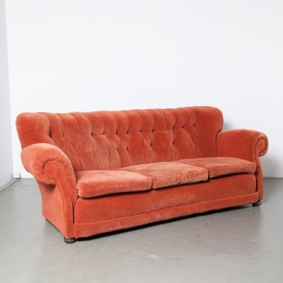 Large Overstuffed Couch in red, 1930s