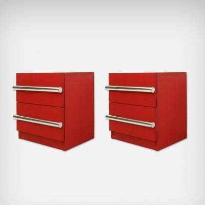 Set of 2 German Red Chest of Drawers, 1976