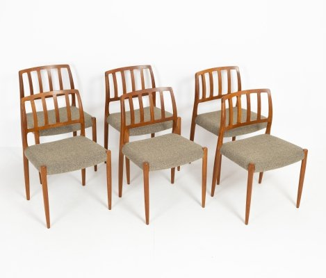 Set of 6 model 83 dining chairs by Niels O. Moller, 1960s