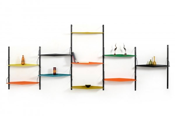 1960s Poul Cadovius Ultra Shelf System in colored Metal