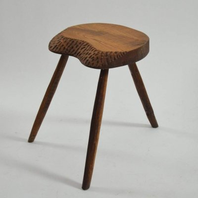 Carved French Brutalist Stool, 1950s