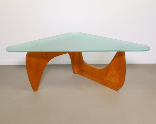 Rare beech molded plywood coffee table by Wilhelm Lutjens, 1953
