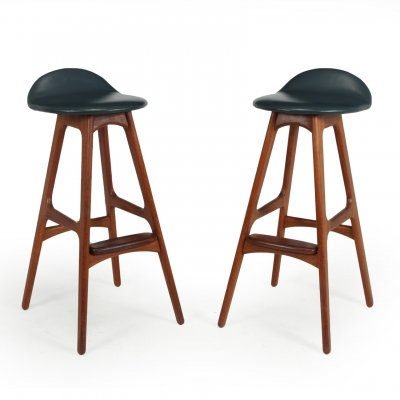Pair of Teak Bar stools by Erik Buch, 1960s