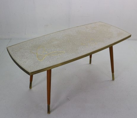 Berthold Muller Ceramic Mosaic & Gold-Plated Coffee Table, 1950s