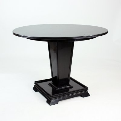 Round Art Deco Dining Table In Black Wood, Czechoslovakia circa 1930s