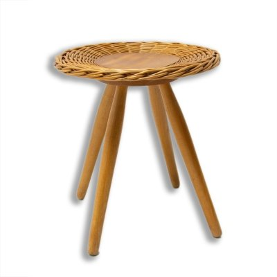 Mid century rattan stool by Jan Kalous for ÚLUV, Czechoslovakia 1960s