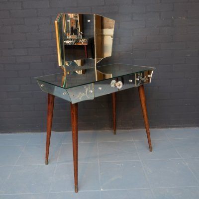 Small vintage vanity table with mirrored Venetian glass