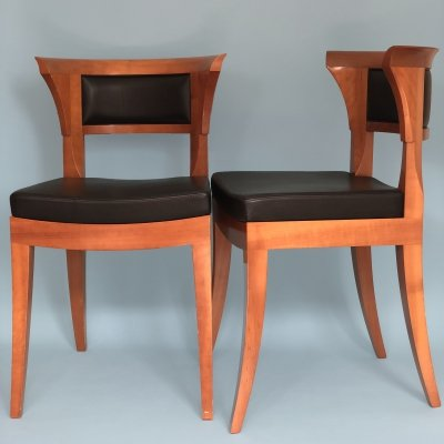 Pair of Leon Krier Cherrywood 'Sella Media' Dining Chairs by Giorgetti, 1991
