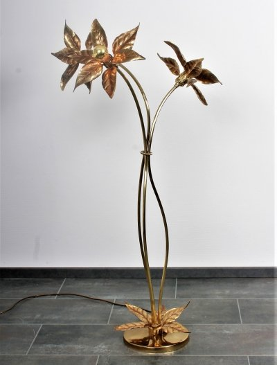 Brass flower floor lamp by Willy Daro for Massive, 1960s