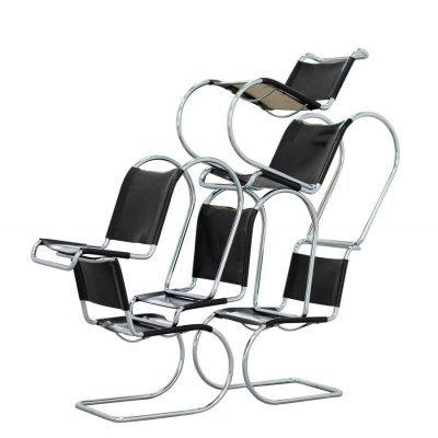 Set of 6 Black leather Ludwig Mies van der Rohe MR10 Cantilever Chairs for Thonet, 1960s