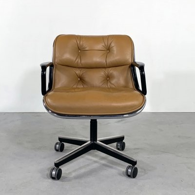 Camel Leather Executive Office Chair on wheels by Charles Pollock for Knoll, 1970s