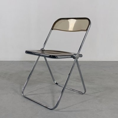 Smoke Plia folding chair by Giancarlo Piretti for Castelli, 1960s
