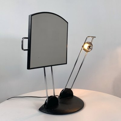 Adjustable Table Mirror & Light with cast iron base, 1980s