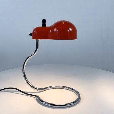 Red Topo Desk Lamp by Joe Colombo for Stilnovo, 1970s