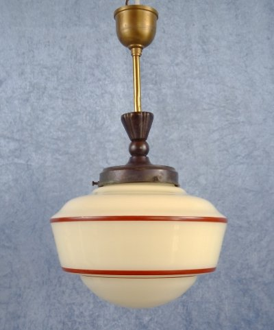 Opaline glass pendant with red pinstripe, 1930/40's