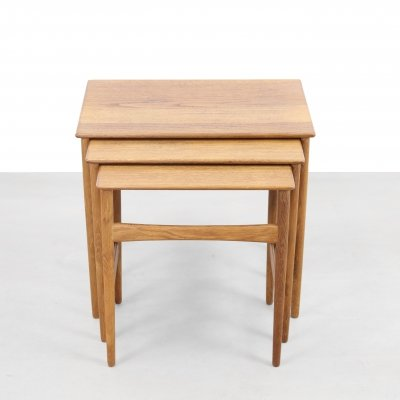 Set of 3 AT40 nesting tables by Hans Wegner for Andreas Tuck, 1960s