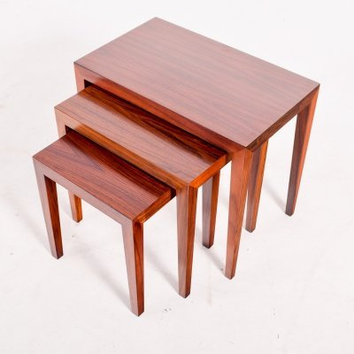 Severin Hansen Rosewood Nesting Tables for Haslev, 1960