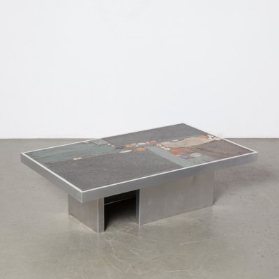 Paul Kingma coffee table with aluminum base, 1969