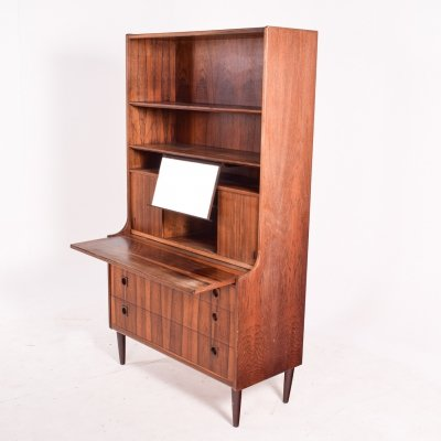 Danish Rosewood Desk & Bookcase with Sliding Doors, 1950