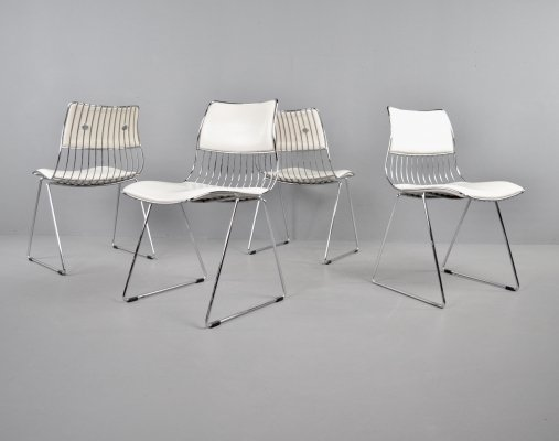 Set of 4 Novalux chrome wire & white skai dining chairs by Rudi Verelst, 1970s
