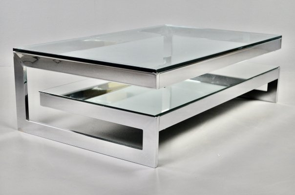 Hollywood regency Belgo Chrom 2-tier G-table in chrome, 1990s