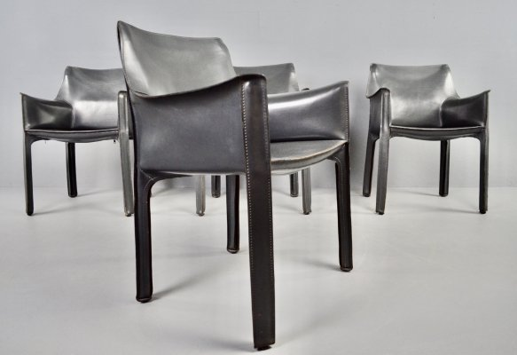 Set of 4 Cassina Cab 413 grey leather dining chairs by Mario Bellini, 1977